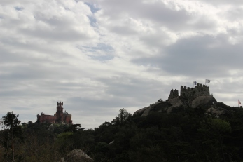 The Moorish castle on the left on one hill and the Pena Palace on another hill opposite